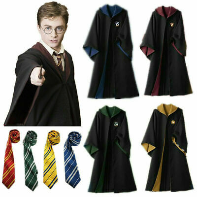 Harry Potter Adult Kid Costume Cloak Robe Cape w/Tie For Halloween Cosplay Party