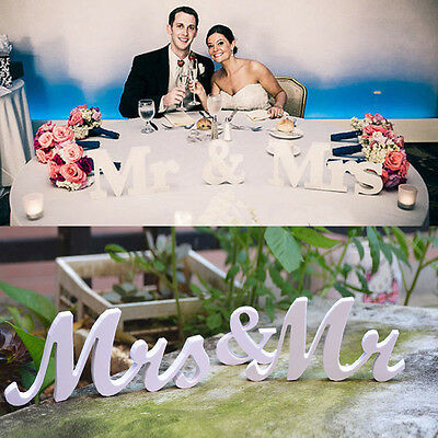 White Mr & Mrs Wedding Reception Sign Solid  Letters Table Top Centrepiece - Wedding Reception Table Decorations
