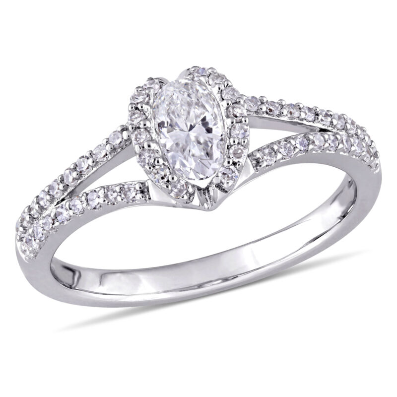 Amour 3/4 Ct Tw Diamond Heart Halo Engagement Ring In 14k White Gold