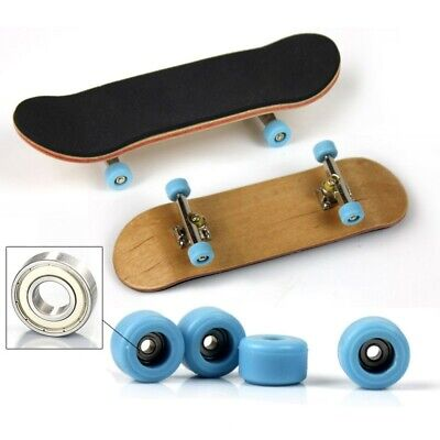 Blue Complete Wooden Fingerboard Finger Skate Board Grit Box Maple Wood Tools