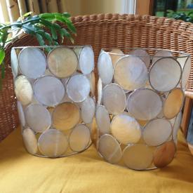 Pair Capiz Shell vintage lampshades