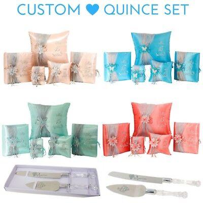 6PC Custom Quinceanera Quince Set Kneeling Pillow Guestbook Album Bible Cake Set](Quinceañera Decorations)