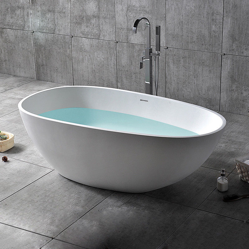Stone Resin Oval Freestanding Soaking Bathtub with Drain&Overflow in Matte White