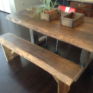 6' live edge dining table and matching bench set