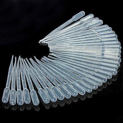 100pcs 3ml Long Transparent Plastic Disposable Pipet Droppers Transfer Pipettes
