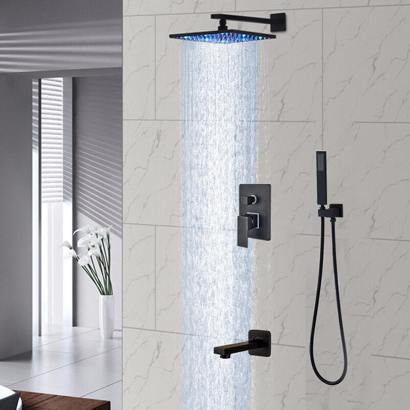 Details About Oil Rubbed Bronze Shower Faucet Set 8 Led Head 3 Ways Tub W Hand Unit