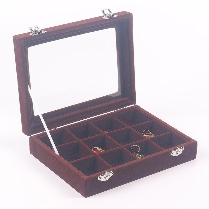 Velvet glass display tray storage case organizer box for Velvet jewelry organizer trays