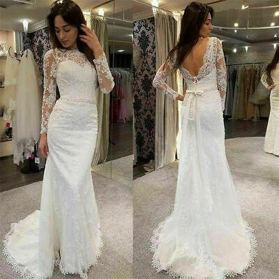 Mermaid Wedding Dresses Lace Long Sleeves Bridal Gowns V-Back White Ivory Custom