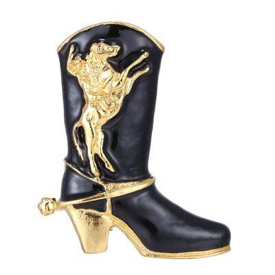GOLD BLACK ENAMEL STILETTO COWBOY BOOT WESTERN PIN BROOCH XMAS HORSE RODEO LOVER