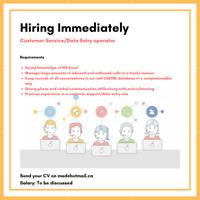 Hiring Customer Service Representative/Data Entry Operator