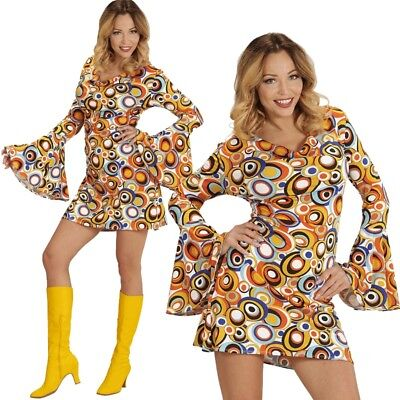 GROOVY GIRL 34/36 (S) DAMEN KOSTÜM Hippie 70er 80er Jahre Flower Power - Girl Power Kostüm