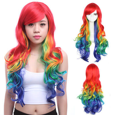 Rainbow Wig Colorful Hair Mixed Color Long Curly Wavy Women Cosplay Wigs Party](Colorful Wigs)
