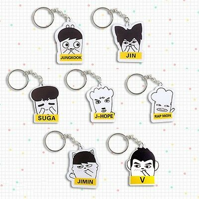 Kpop Star BTS Character Acrylic Key Ring Bangtan Boys Keyfob Keychain Fans Gift