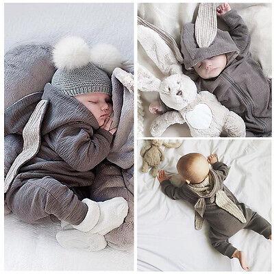 0-3T Cute Kids Baby Clothes Girl Boy 3D Ear Romper Jumpsuit Playsuit Outfits Set