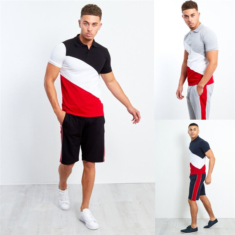 Men Casual Tracksuit Short Sleeve Jogging Sports T-Shirts an