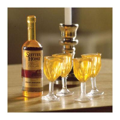 Dolls House 5123 Weißwein Flasche + 4 Gläser 1:12 für Puppenhaus NEU! #