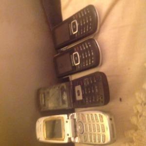 4 Older Model used cel phones,2 flip.3 Samsung,1Audiovox