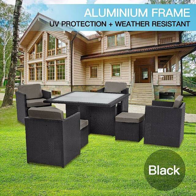9pc wicker outdoor aluminum furniture black or brown for Outdoor furniture gumtree