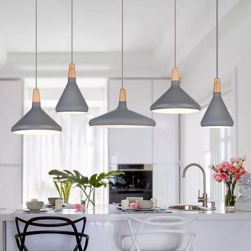 Details About Bar Lamp Kitchen Modern Pendant Lighting Wood Light Grey Ceiling Lights
