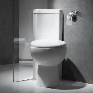 Corner Close Coupled Toilet WC Pan Cistern Soft Close Seat Bathroom Cloakroom