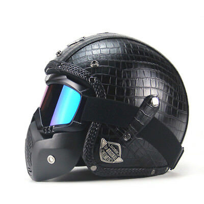 Black Vintage Motorcycle Helmet 3/4 Open Helmet PU Leather with Goggle Mask