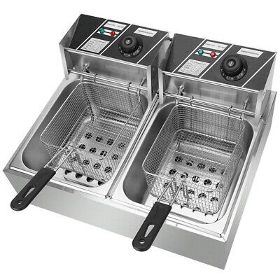 Stainless Steel Dual Tank Commercial Stainsteel Electric Deep Fryer 1700w3400w