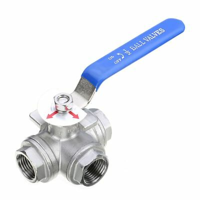Stainless Steel Dn15 G12 Female 3-way L-port Ball Valve Water Oil T Type
