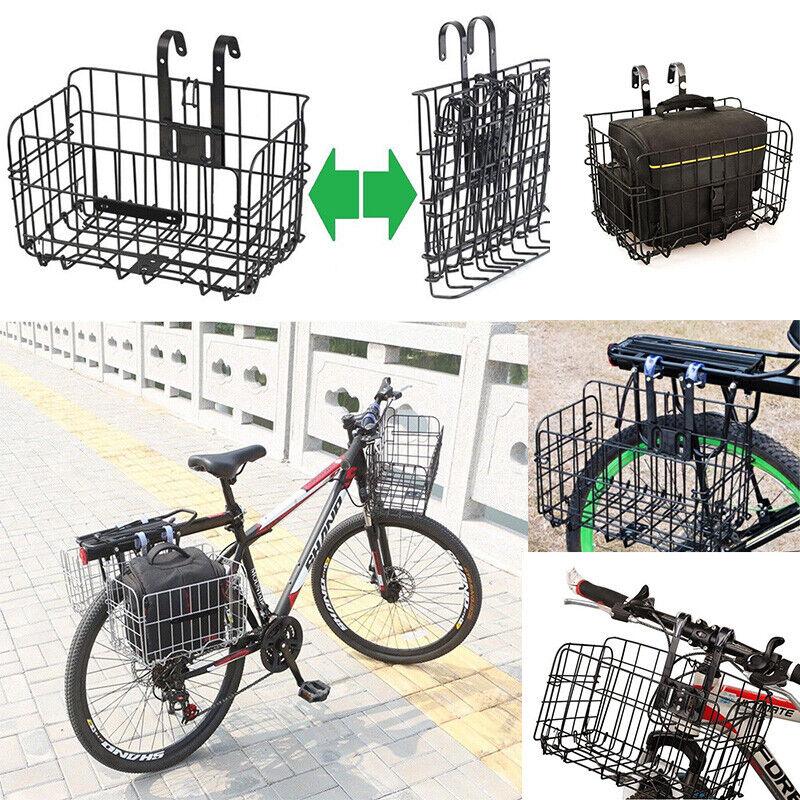 Mountain Bike Foldable Metal Wire Basket Side Bag Bicycle Rear//Front Basket