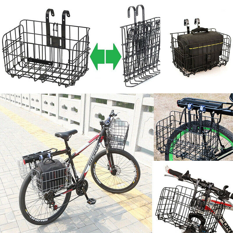 Universal Black Mountain Bike Folding Wire Basket Foldable Bicycle Basket Frame