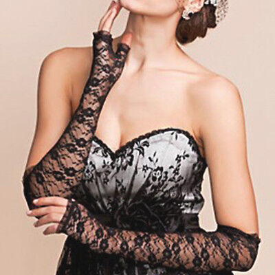 Women's Wedding Party Bridal Long Length Arm Elbow Gloves Lace Fingerless  ! - Lace Fingerless Gloves