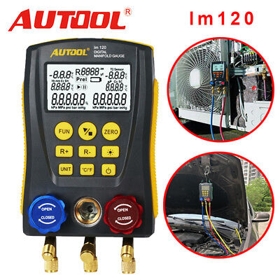 Digital Gauge Manifold Hvac Refrigeration Leak Vacuum Pressure Temp Tester Tools