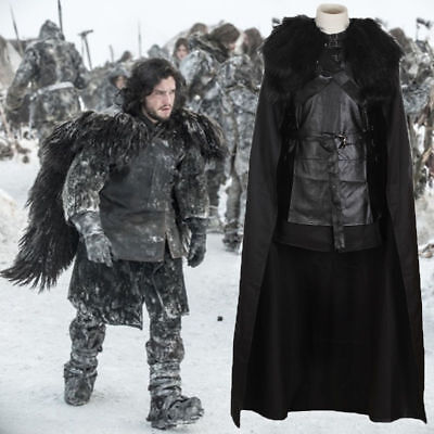 Game of Thrones Jon Snow Cosplay Damen Karneval Kostüm Schwarz Umhang Full Set