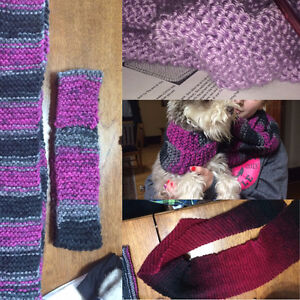 Hand knitted infinity scarves