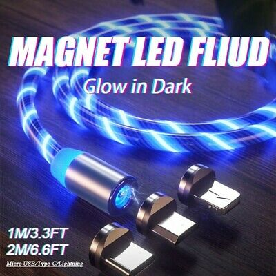 LED Flowing Light Up Magnetic TypeC Micro USB Charger Charging Cable 1M 2M
