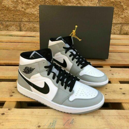 Nike Air Jordan 1 Mid Light Smoke Grey Grau NEU Unisex Sportschuhe Basketball