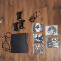 PS3 Console (w/ 3 controllers and 5 games)