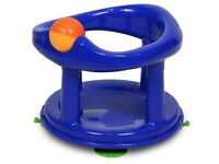 Blue baby bath seat with toy