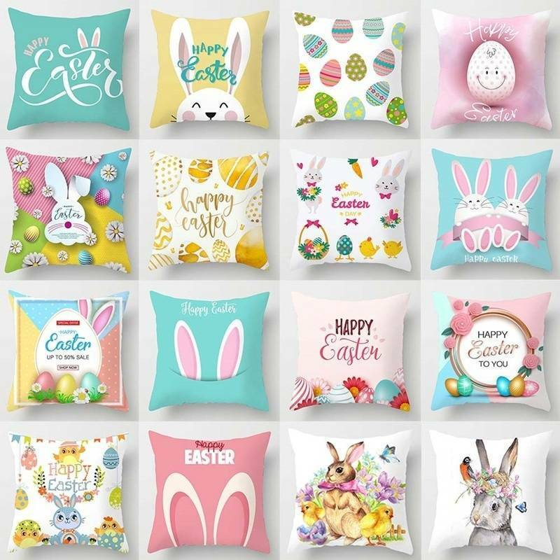 Easter Rabbit Print Pillow Case Polyester Sofa Cushion Cover
