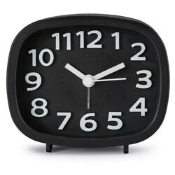 Non Ticking Alarm Clock, Battery Powered Bedside Clock Silent Simple to Set K2Q1