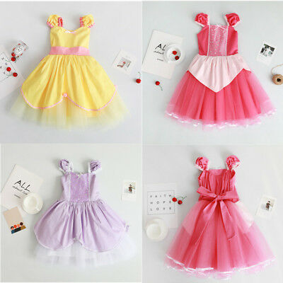 Kids Girl Princess Aurora Sofia Belle Cosplay Toddler Baby Party Dress - Toddler Belle Dress