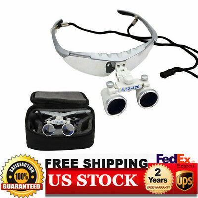 Dental Binocular Loupes 3.5x420mm Magnifier Loupes With Protective Case