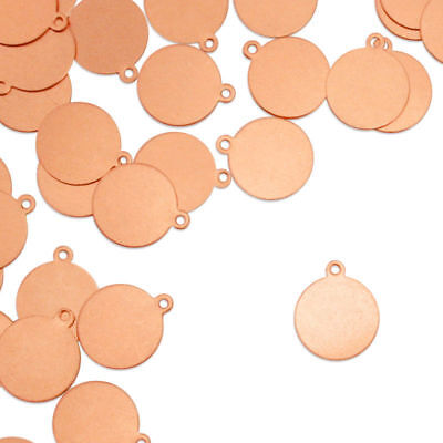 """Circle Tag w/ Ring, 5/8"""", Stamping Blanks, Copper, 24 pc- Jewelry & Craft"""