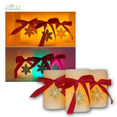 LED Candele con Xmas-Dekor 3er-Pack, Timer RGB/Giallo Tremolante, Batteria