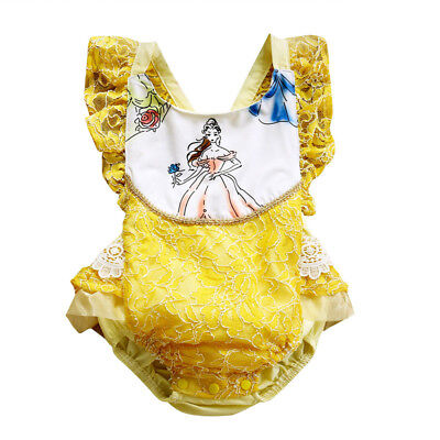 NWT Disney Princess Belle Beauty and the Beast Baby Girls Ruffle Lace Romper