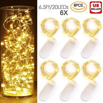 6x 20 LED 2m Waterproof LED MICRO Silver Copper Wire String Fairy Lights Decor - Outside Wedding Decorations