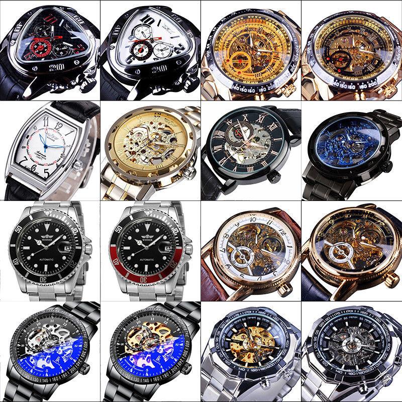 Luxus automatische mechanische Herren Skelett Gold Stahl Edelstahl Armbanduhr DE
