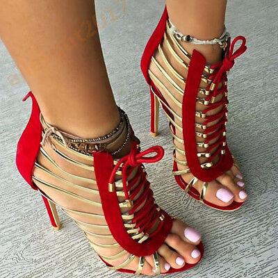 Rot Schwarz Sexy Gladiator Damenschuhe Pumps High Heels Sandaletten Gr.34-47 (Rote Sexy Schuhe)