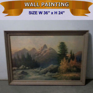 WALL PAINTING WITH RUSTIC FRAME IN EXCELLENT CONDITION