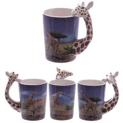 Ceramic Safari Printed Mug with Giraffe Handle Tea Coffee Cup Home Decor...