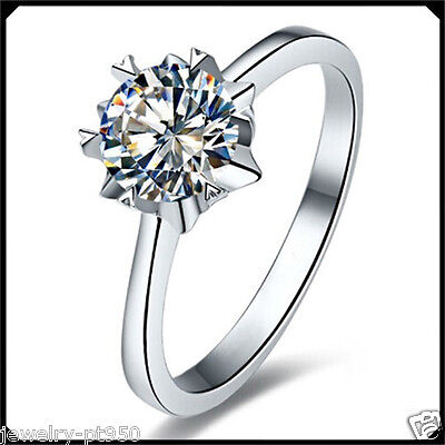 Solitare 1.00CT Diamond VVS1 Solid Platinum PT950 Engagement Wedding Woman Ring